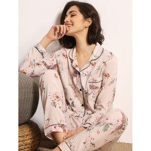 Pastel Pink Floral Print 2 Piece Pajama Set